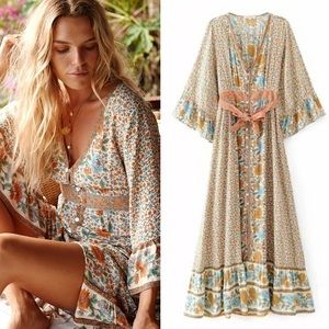 Ophelia Maxi DRESS Floral Bohemian Gown Long NEW